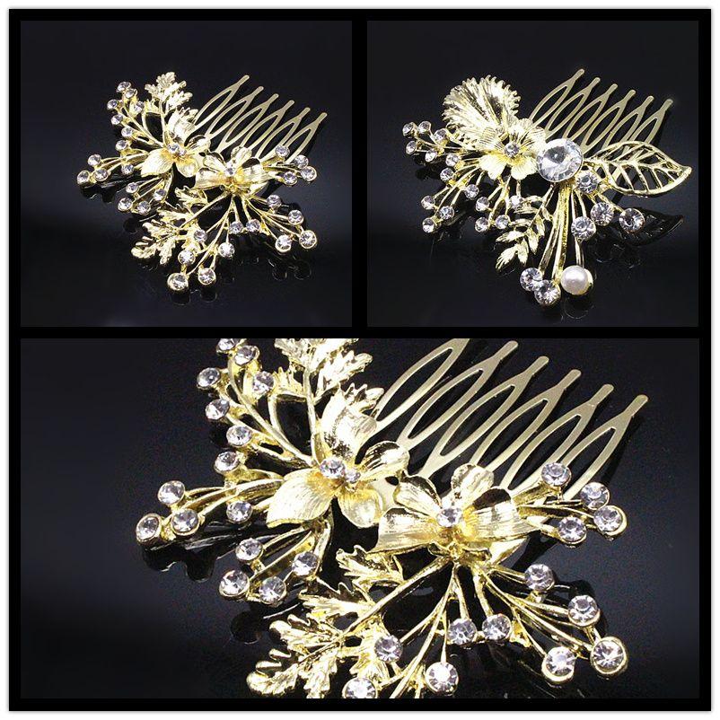 1 pz Strass Flower Hairpin Spose Perni di Capelli Clip Di Cristallo Diamante Capelli Pettini Gioielli Accessori Oro C604