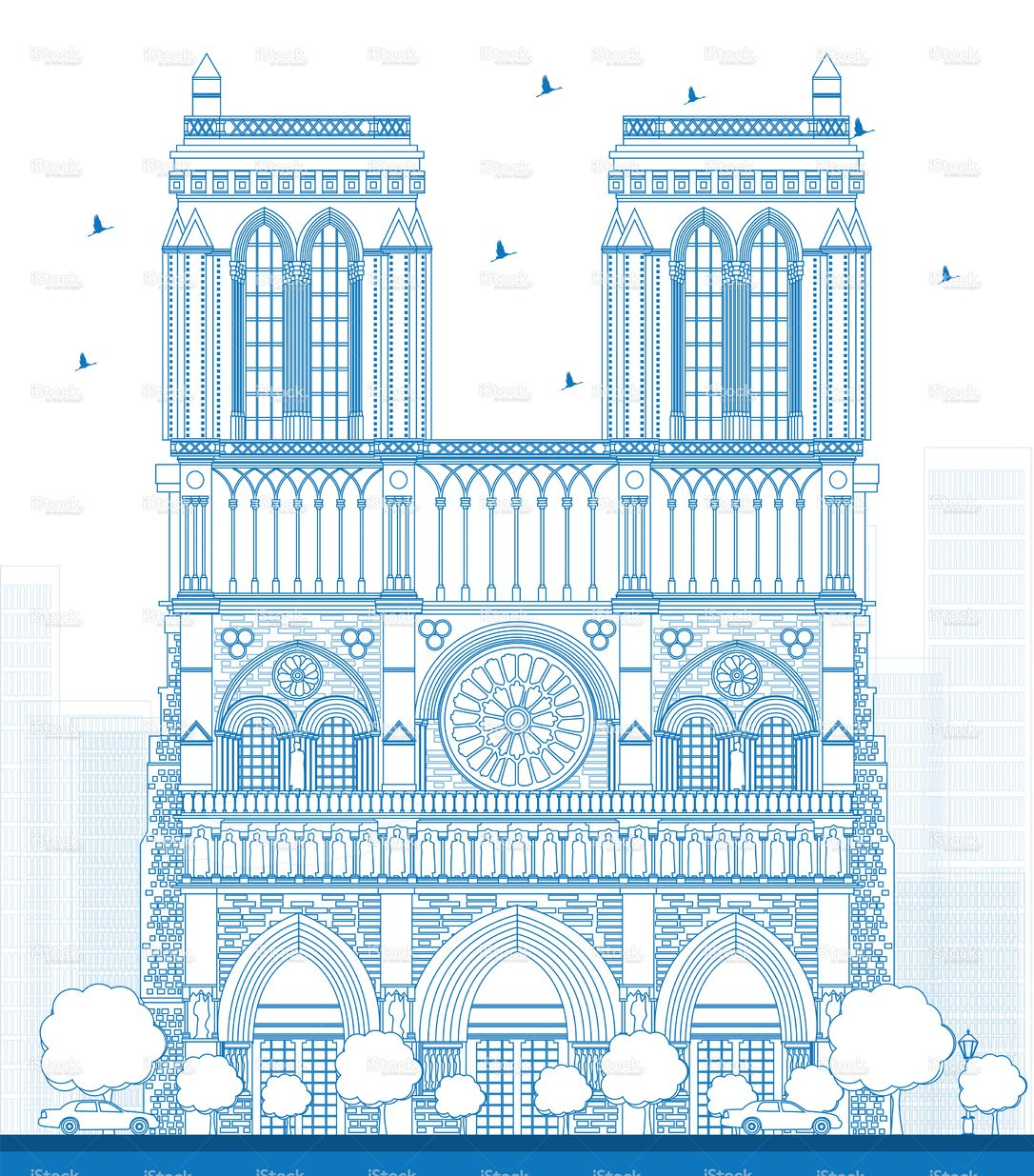 Outline Notre Dame Cathedral Paris Vector Illustration Cathedral Illustration Notre Dame