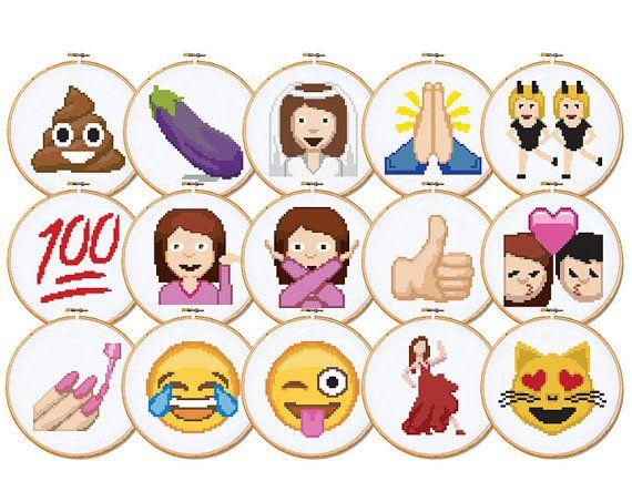 Emoji Cross Stitch Patterns Set Of 15 Patterns Cross Stitch Cross Stitch Embroidery Stitch Patterns