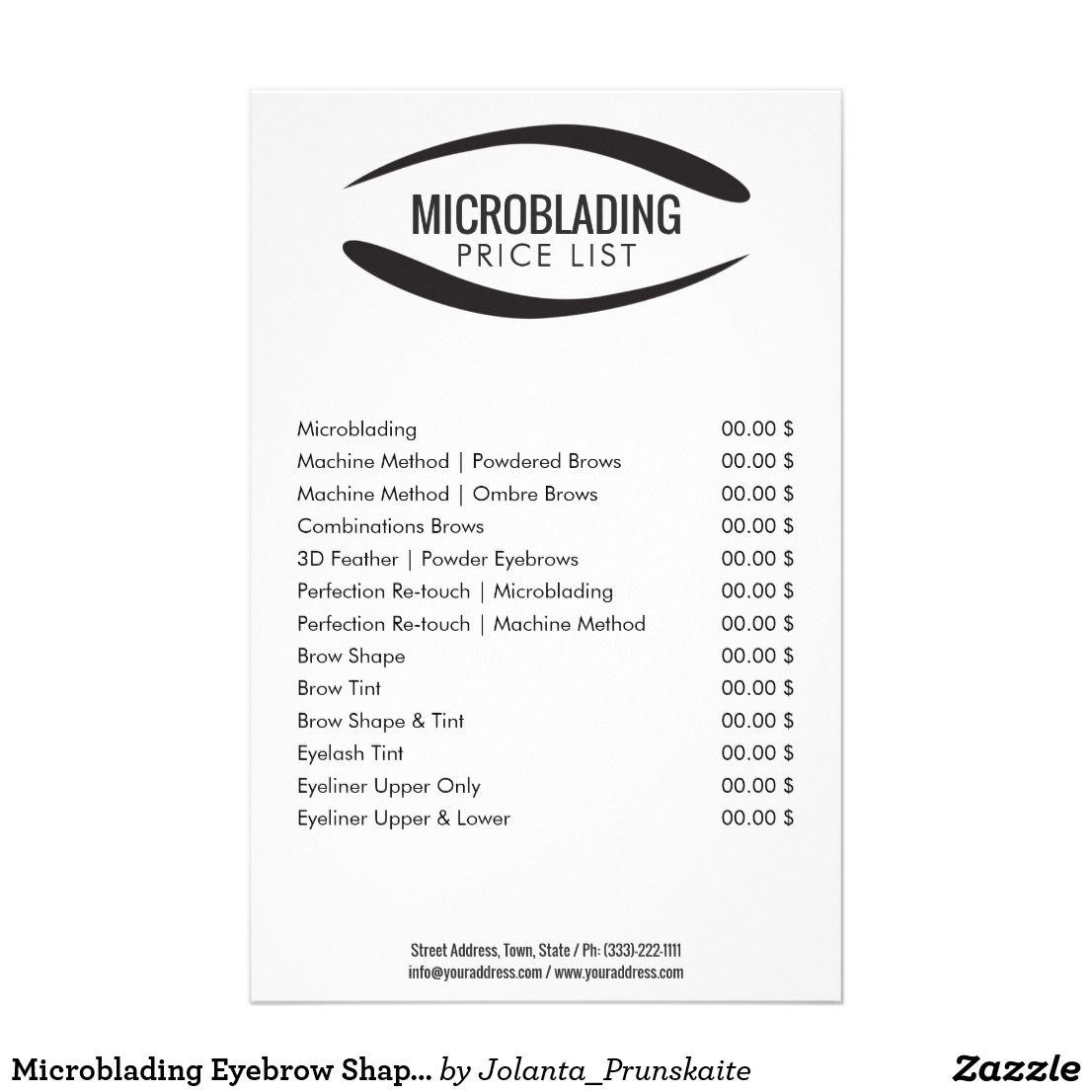 Microblading Eyebrow Shape Tattoo Price List Flyer Zazzle Com In 2021 Microblading Microblading Eyebrows Eyebrow Shaping