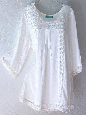 NEW~Ivory White Crochet Lace Peasant Blouse Shirt Plus Boho Top~18/20/16/XL/1X
