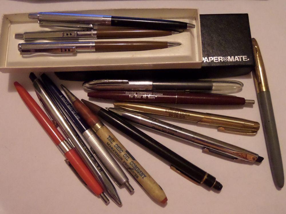 Vintage Penpencil Lot Papermates A Watermans Some Advertising Pens Pencils