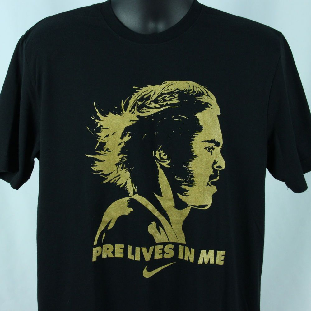 c032a044fb89 Nike Running Mens L T-Shirt Steve Prefontaine Pre Lives In Me Black Dri  FitLarge  Nike  GraphicTee