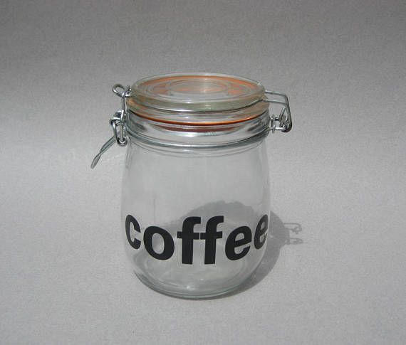 Vintage Coffee Canister Typography Glass Storage Jar Swing Top Bale Jar  Air Tight Rubber Gasket Seal Triomphe France Style