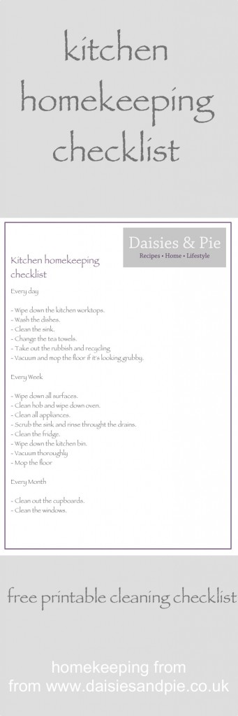 Kitchen homekeeping \u2013 daily, weekly and monthly Homekeeping, Free