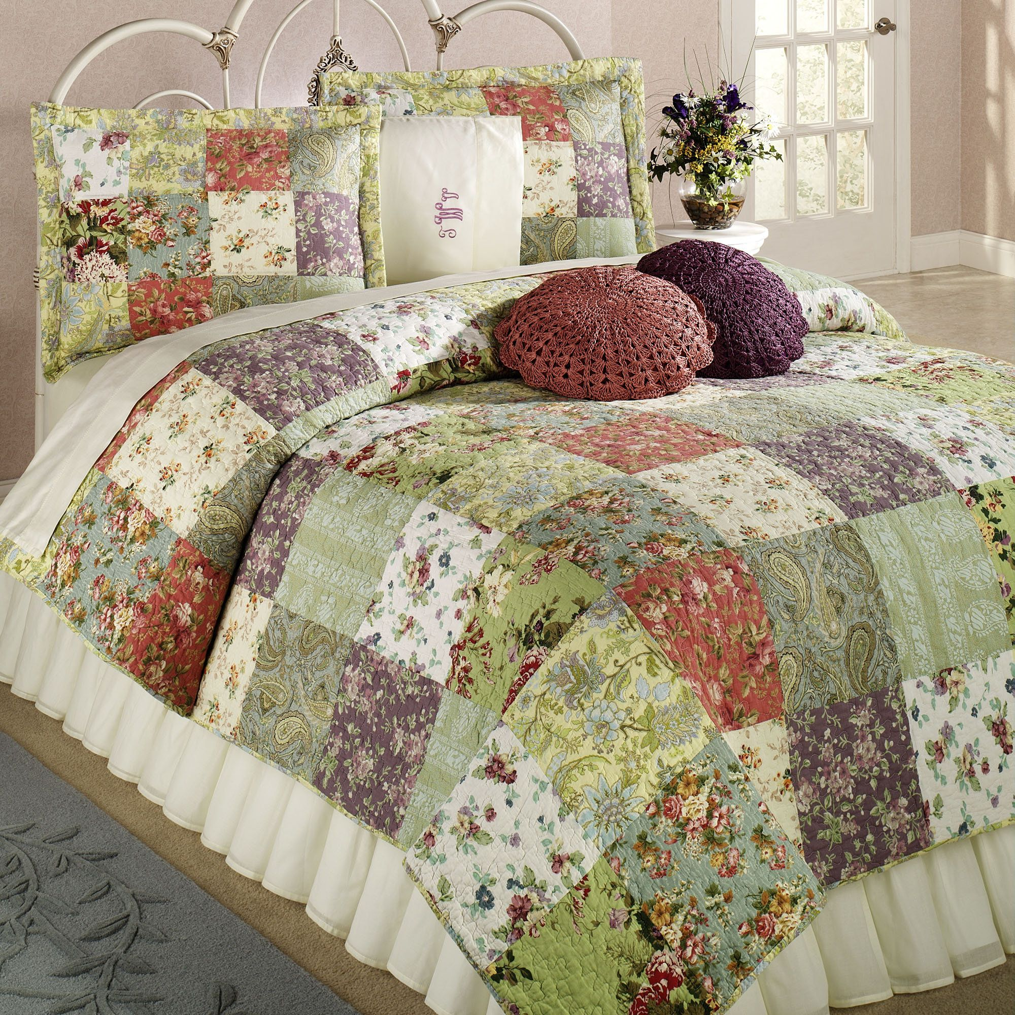 Patchwork bed sheets patterns - Blooming Prairie Cotton Patchwork Quilt Set Bedding