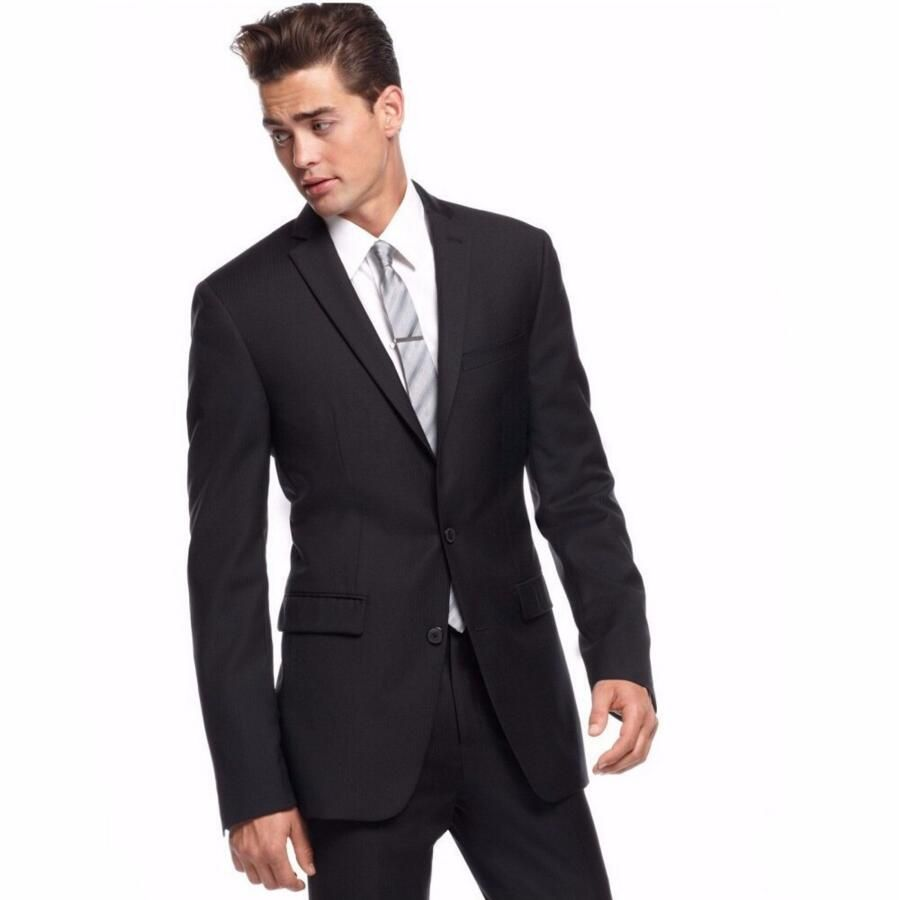 Click to Buy << Custom Made New Men Slim Fit Suits Black Groom ...