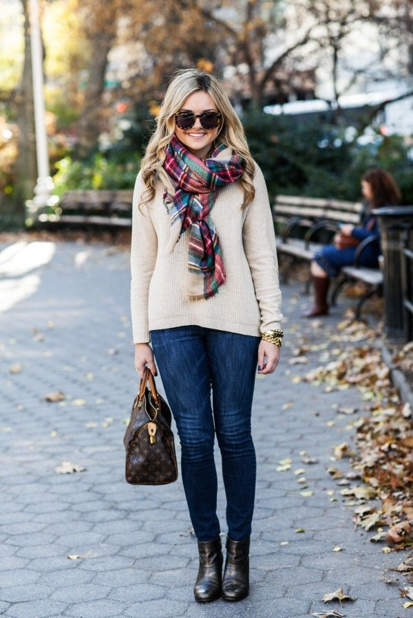 Plaid Scarf, Cream Sweater, Skinny Jeans, Metallic Booties