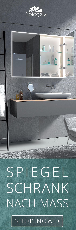 Bad Spiegelschrank Nach Mass Mit Stilvoller Led Beleuchtung Rundherum Sowie Im Schrank Unterputz Ein In 2020 Bathroom Mirror Cabinet Bathroom Mirror Mirror Cabinets