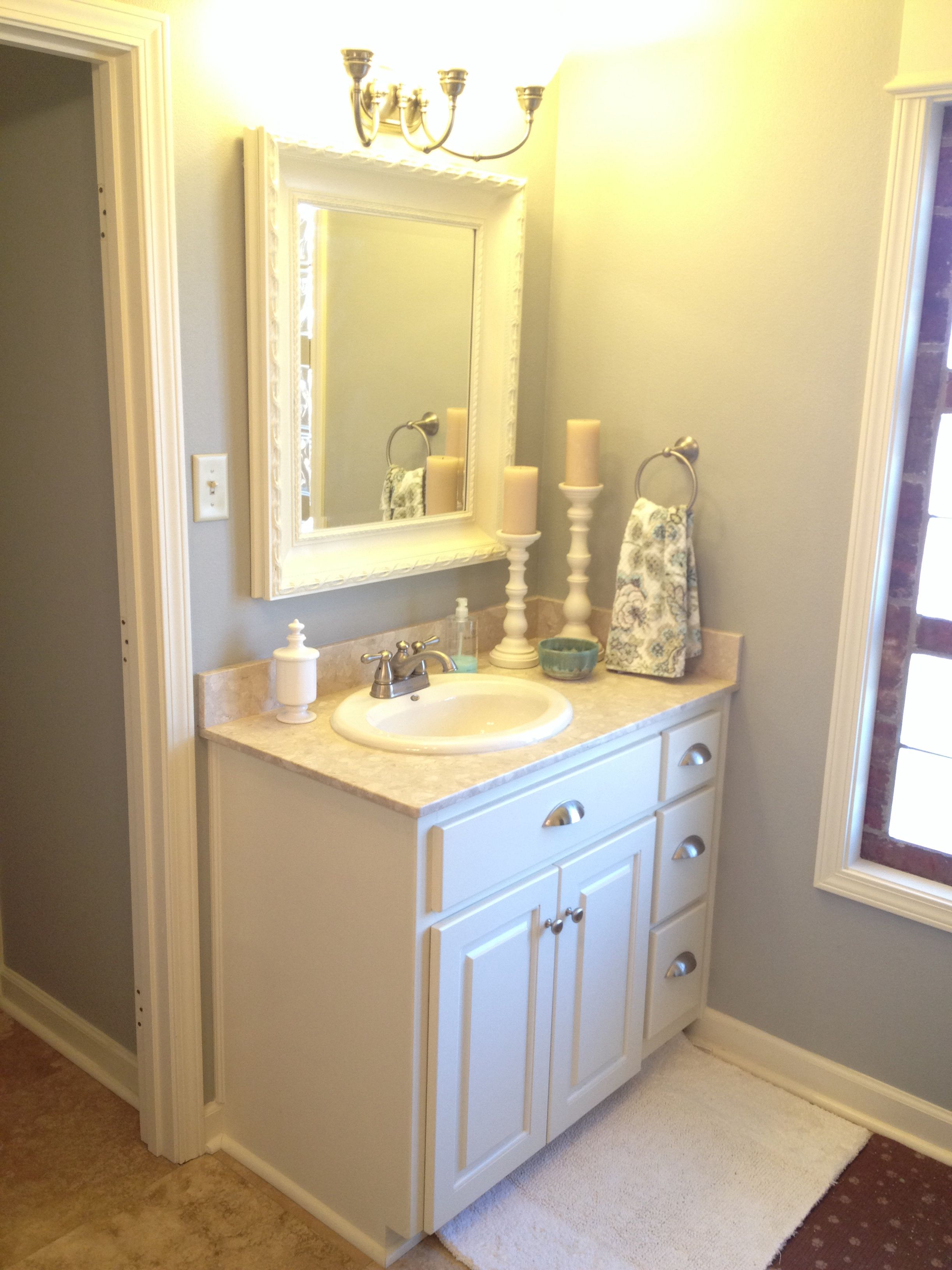 Master bathroom in Silver Tinsel by Behr. Mirror spray painted in ...
