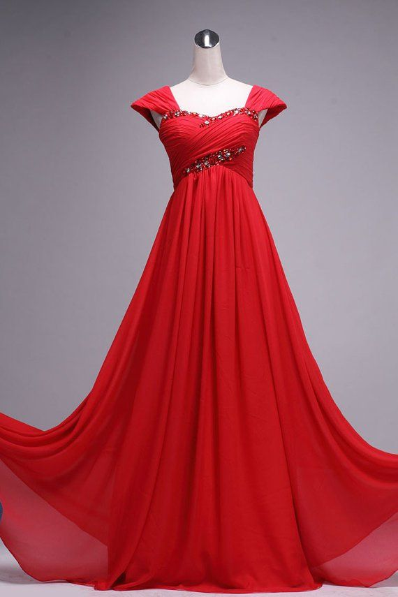 Red Black And White Formal Gowns Red Cap Sleeves Chiffon Long