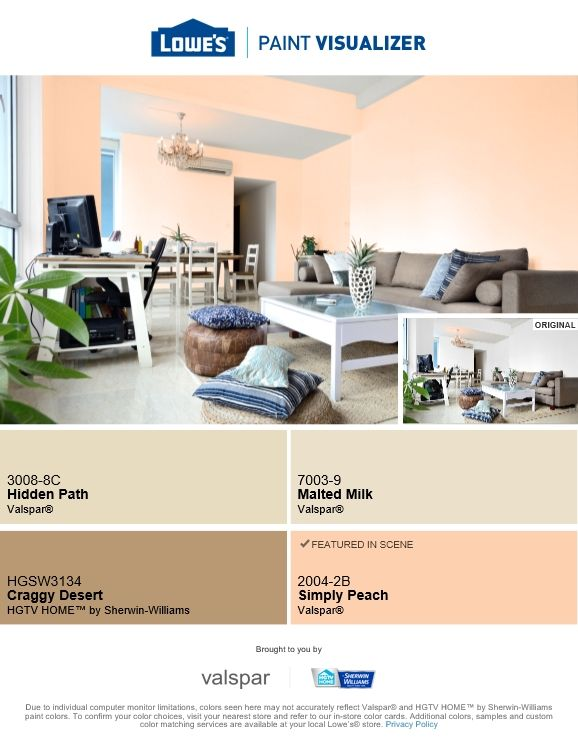wall color for living room valspar lowes simply peach on valspar paint colors visualizer id=96335