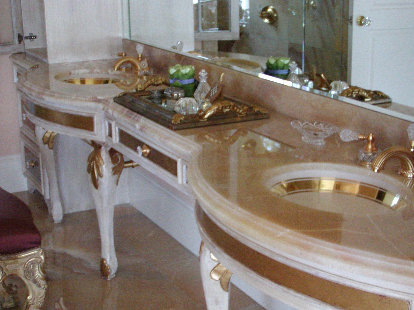 Rounded Tan / White Granite bathroom countertop / Vanity, White