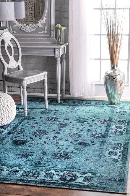 Rugs Usa Turquoise Ashlina Printed Persian Overdyed Vintage