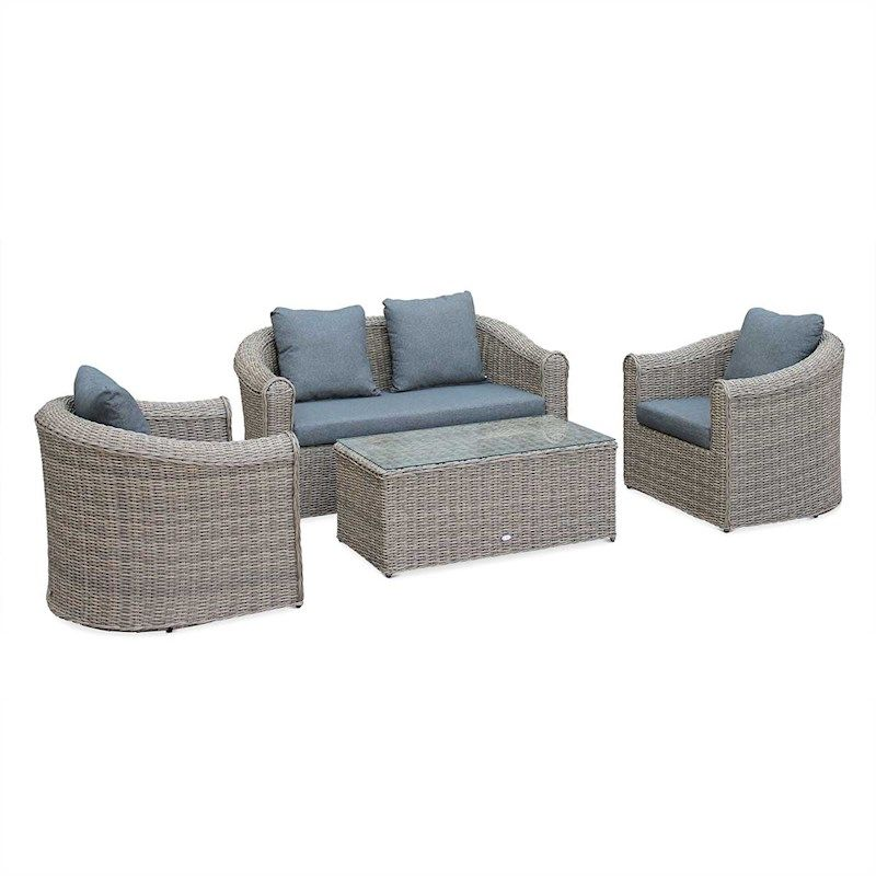 Valentino 4 Seater Outdoor Lounge Set Natural Round Wicker