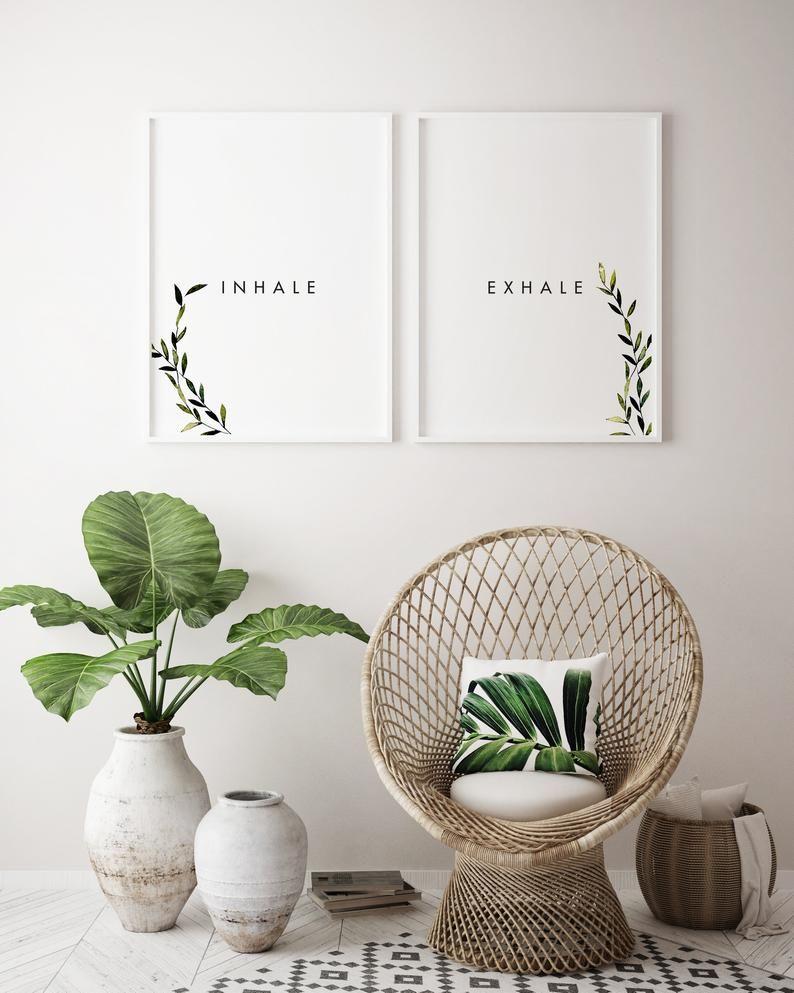 Inhale Exhale Wall Art Printables Laurel Leaves Wall Decor Etsy Hallway Wall Decor Wall Decor Bedroom Decor