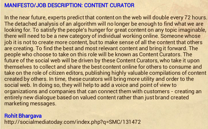 Manifesto For The Content Curator The Next Big Social Media Job