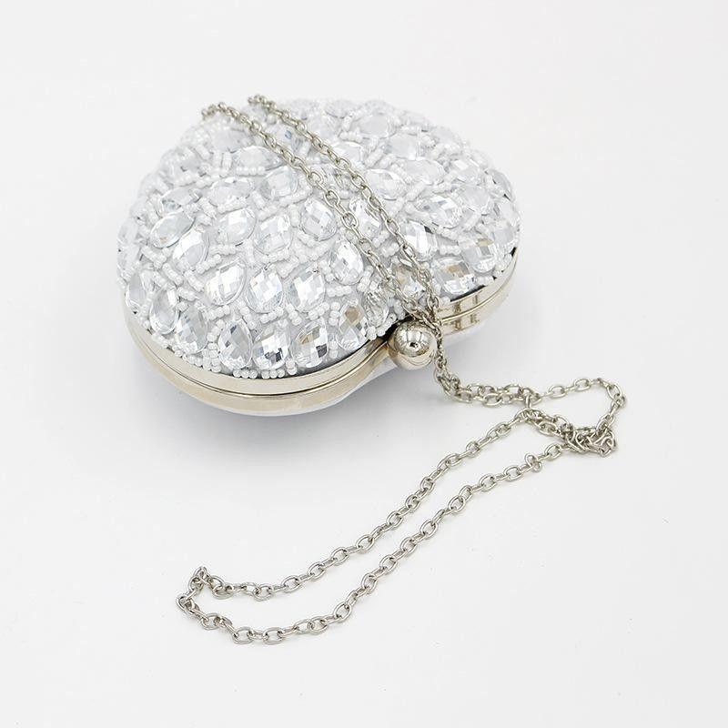 f7b3eefcdd Silver Heart Shape Crystal Clutch Purse Sparkly Box Evening Bags in ...