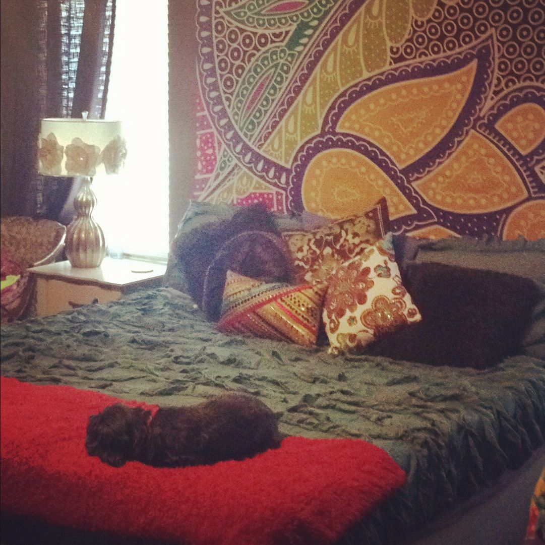 Headboard Alternative: Tapestry hung up on the wall behind ...