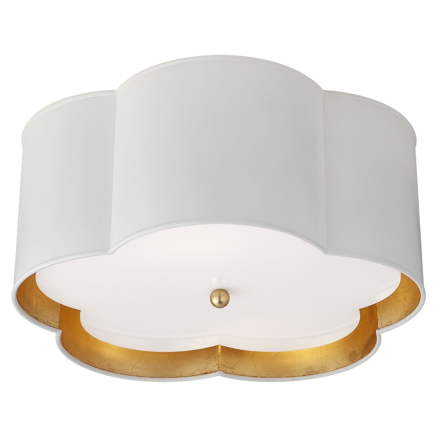Visual Comfort Ks 4117wht G Fa Kate Spade New York Casual Bryce Medium Flush Mount In White And Gild With Frosted Acryl Visual Comfort Flush Mount Flush Mounts