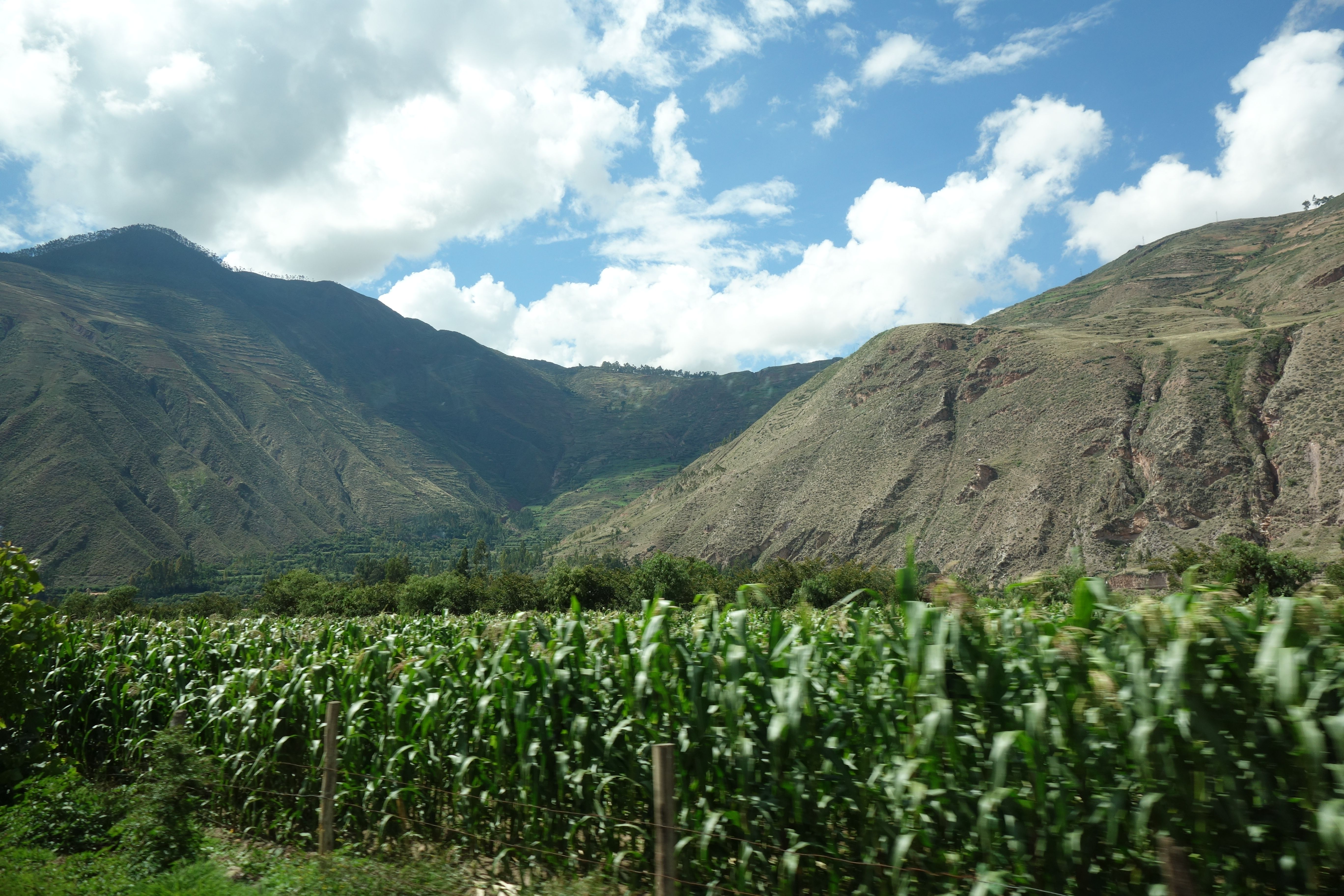 Landscape in Sacred Valley, taken from the car. Corn fields, mountains,in height.. #sacredvalley #inca #peru