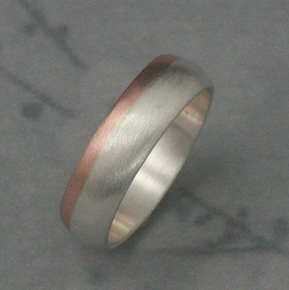 Trendy Solid K Rose Gold and Silver Rounded Wedding Band Two Tone Wedding Ring
