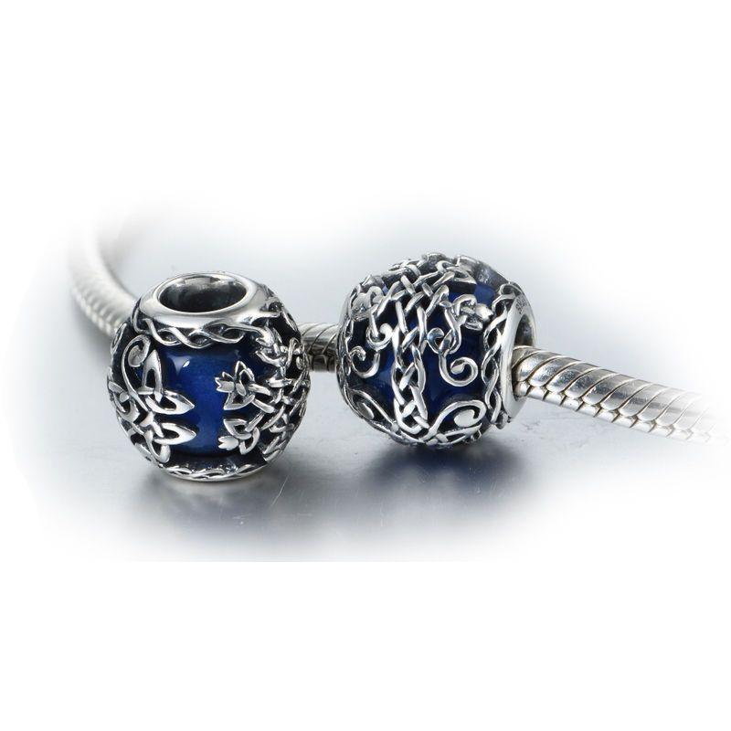 9ed61523f Blue Murano Glass Sterling Silver Celtic Irish Family Tree of Life Charm  Bead | eBay