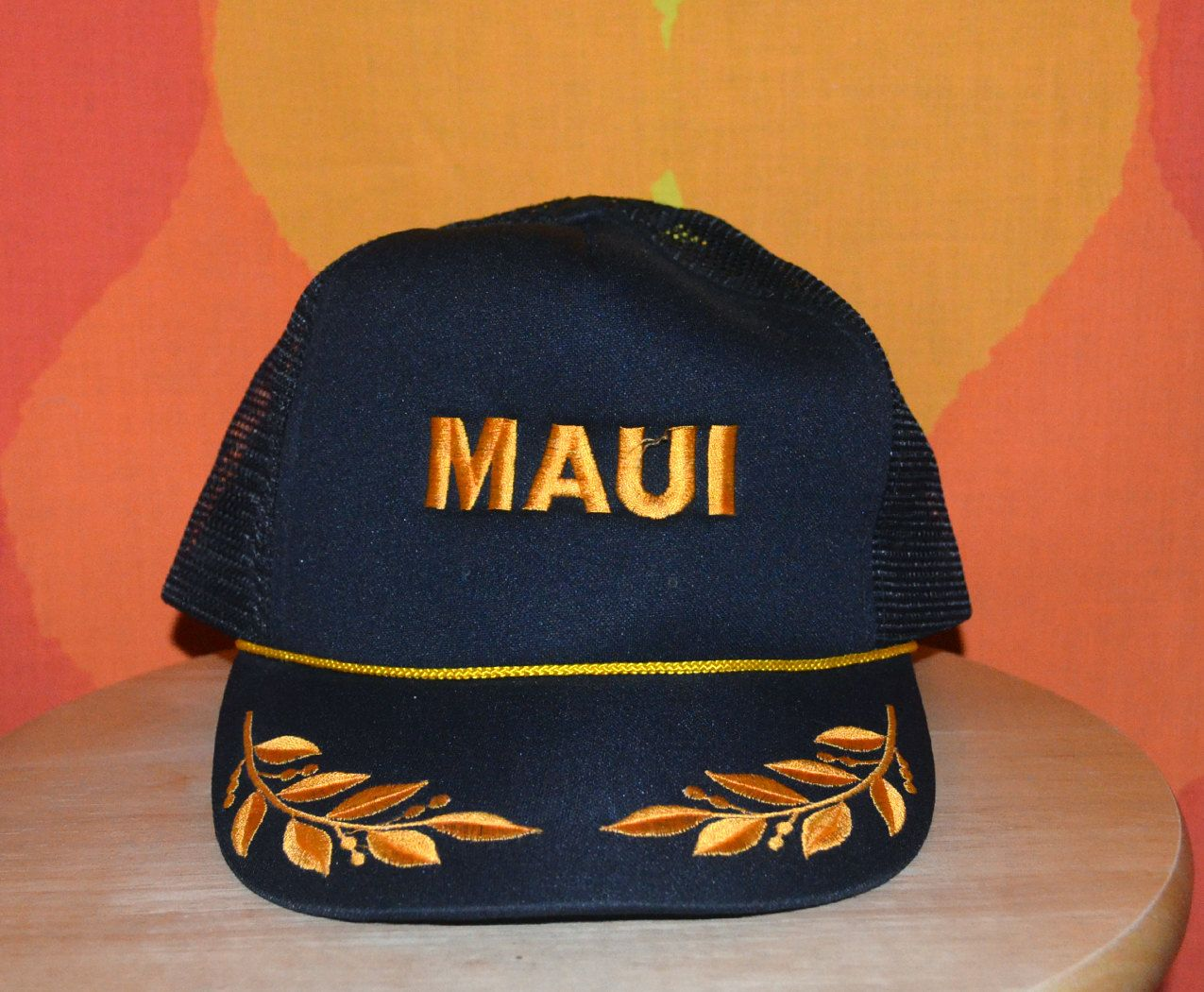 4b2288bf2d4c7 ... vintage 70s trucker hat mesh maui hawaii gold leaf black snapback baseball  cap rockstar italy vintage 80s baseball cap rental city cowboy red twill ...