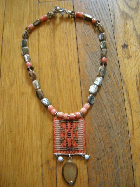 One of a kind Necklace by Gy Mirano. South Sea Abalone, Peach Coral, Sterling, Mapuche Woven Textile Pendant.