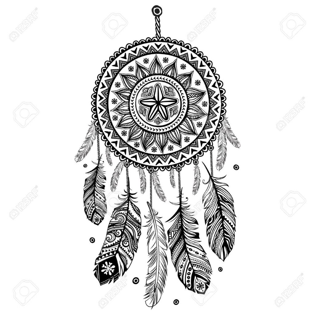 Image result for dream catcher drawing craft ideas for Dreamcatcher tattoo template