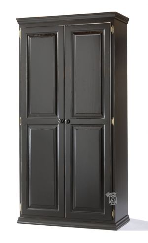 Solid Pine 2 Door Tall Storage Cabinet Shown In Worn Black