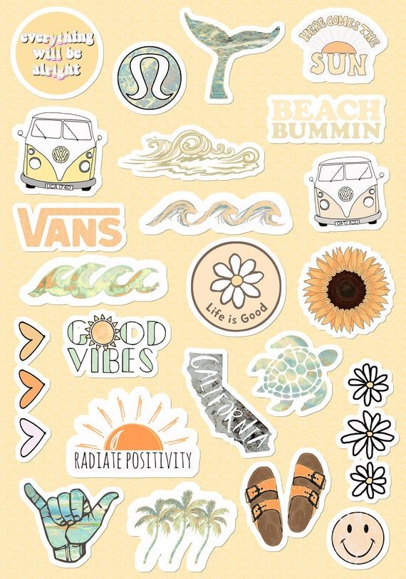Small & Large Stickers Vsco Light Blue-Yellow Pink Peachy Lilac For Phone Case (About 1x1 Inch) For Laptop For Bottle (About 2x2 Inch) 23pсs