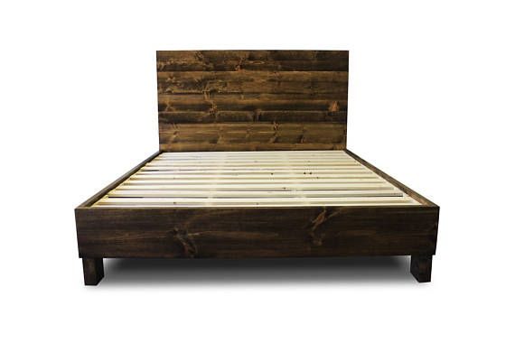 Rustic Solid Wood Platform Bed Frame & Headboard | Reclaimed Wood ...