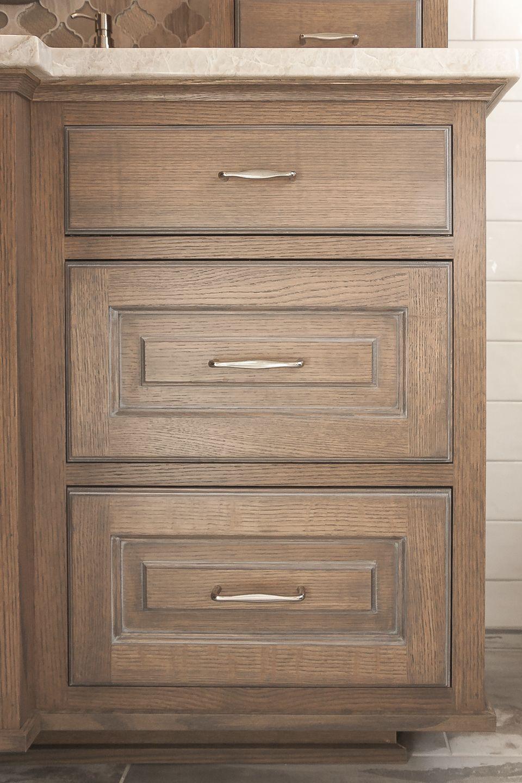 Quarter sawn oak custom cabinets bathroom vanity custom stain and