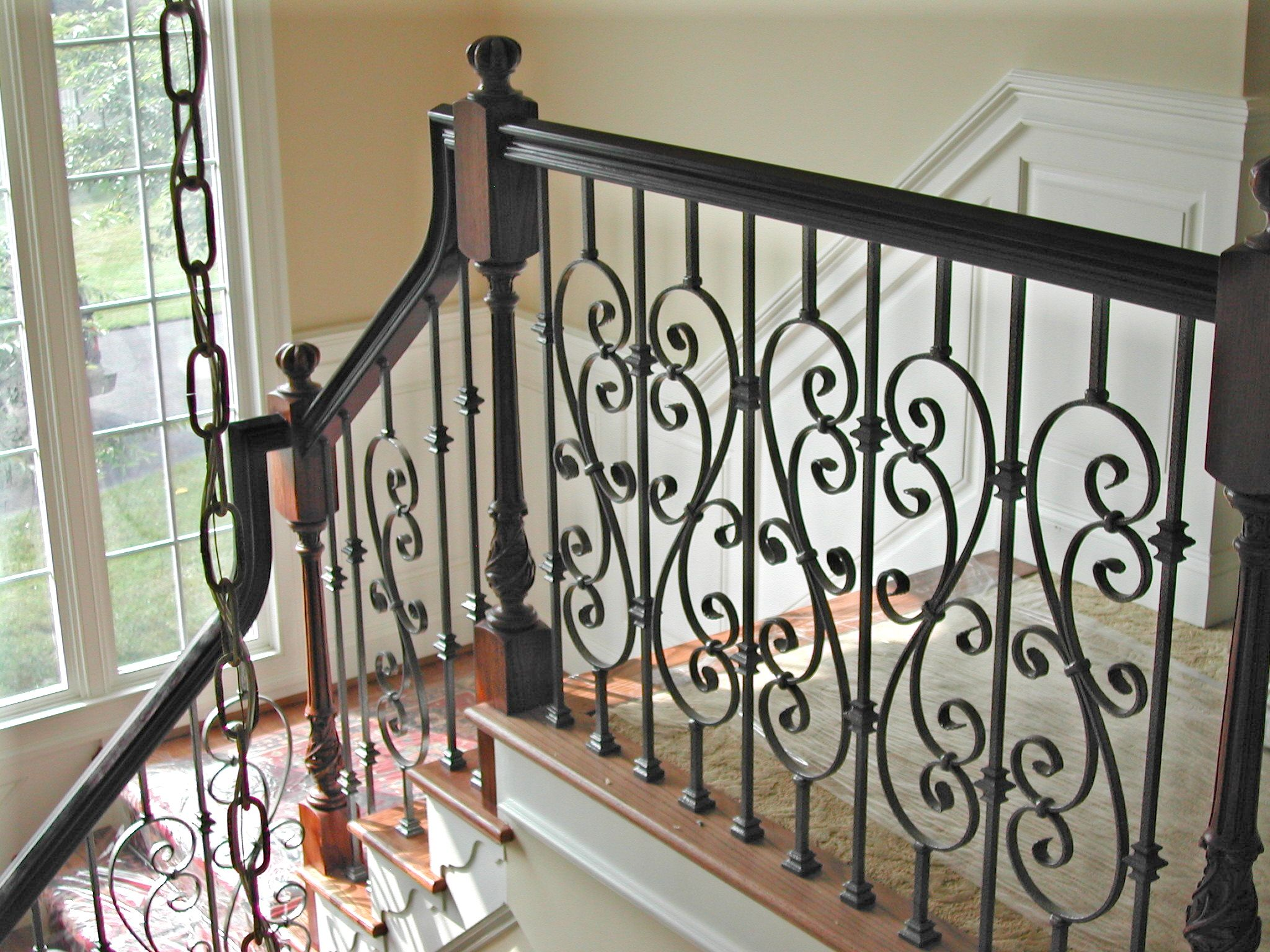 Best Red Oak Handrails Newels And Black Metal Balusters Oak 400 x 300