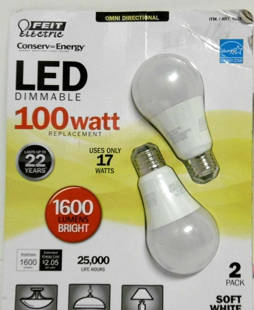 100 Watt Led Omni Directional Bulbs Dimmable 2 Pack Feit Uses Only 17 Watts B43 Feitelectric Bulb Led Led Flood