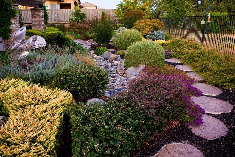 Dry Stream Bed, Drought Tolerant Landscape Garden Design Simple Elegance  Rocklin, CA