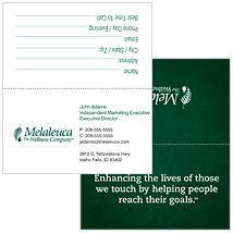 Melaleuca Business Cards Tent Style Green Mission Statement Tarjetas De Presentación Geniales