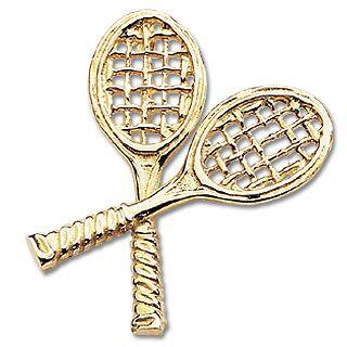 Crossed tennis racquets pendant 14k gold tennis jewelry pinterest crossed tennis racquets pendant 14k gold aloadofball Images