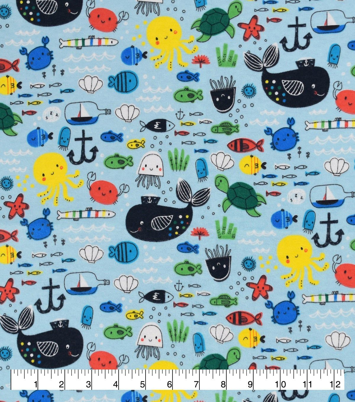 Baby Sea Creatures Fabric By The Yard 100 Cotton Flannel Fabric Only Additional Length Options Available Flannel Fabric Cotton Flannel Fabric