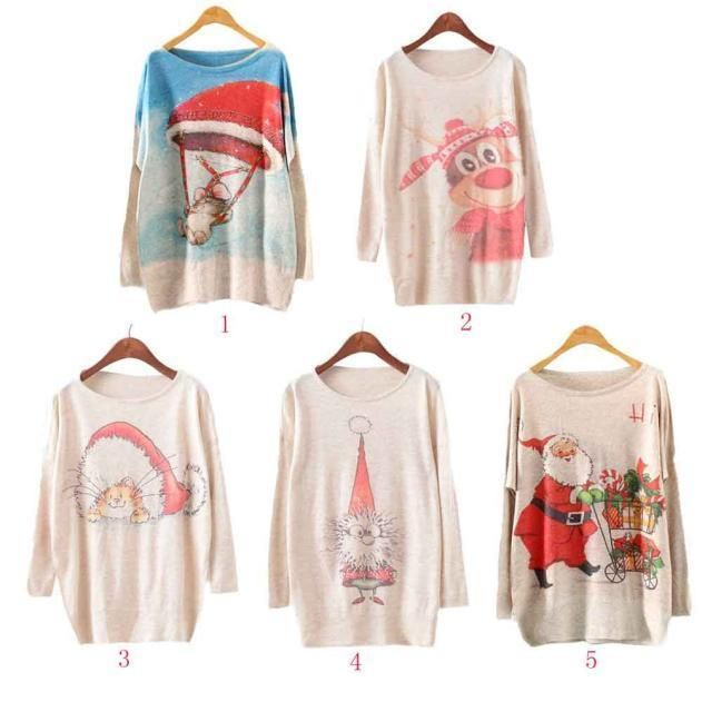 Womens Christmas Batwing Long Sleeve Color Loose Knit Sweater