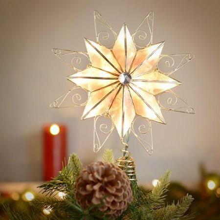 kurt adler 9 8 point capiz star with wire trim tree topper walmart - Walmart Christmas Tree Toppers