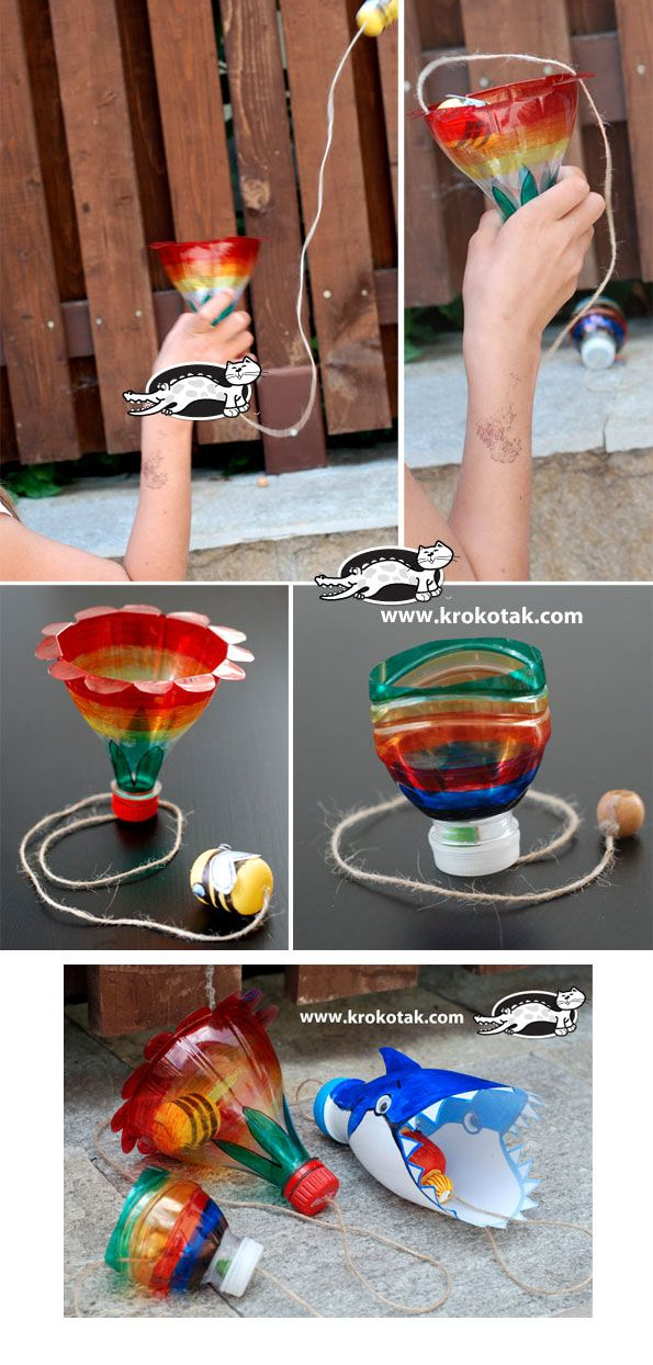 Empty plastic bottles game craft summer pinterest for Recycled water bottle crafts for kids