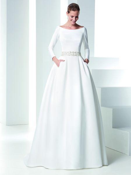 vestidos de novia 2016 con cuello barco: los diseños más