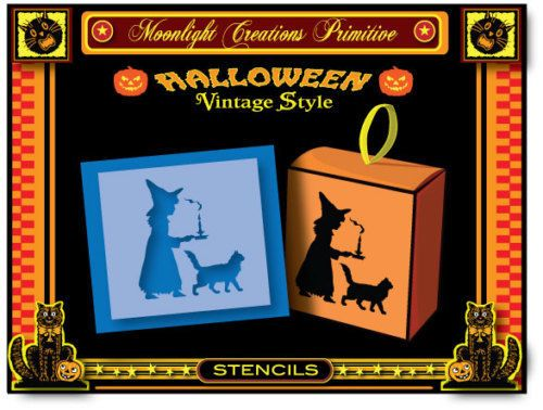 Halloween Stencil~LITTLE WITCH MIDNIGHT WALK~Magical Mystic Powers Black Cat