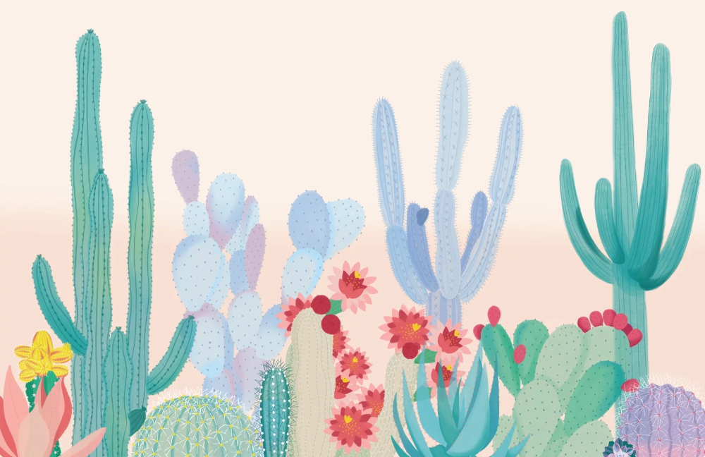 Cute Cactus Wallpaper Mural Murals Wallpaper Flower Wallpaper Watercolor Desktop Wallpaper Cute Laptop Wallpaper