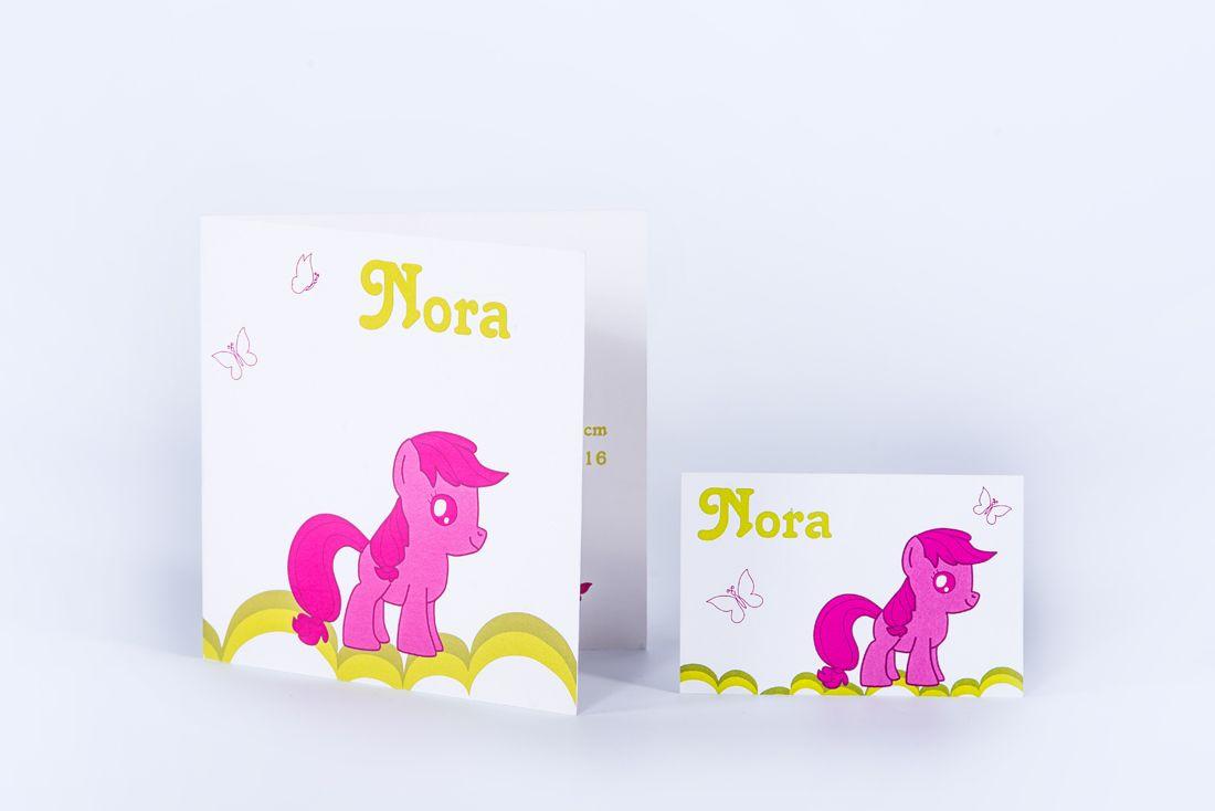 geboortekaartje Nora: my little pony, roos, groen, fuchia