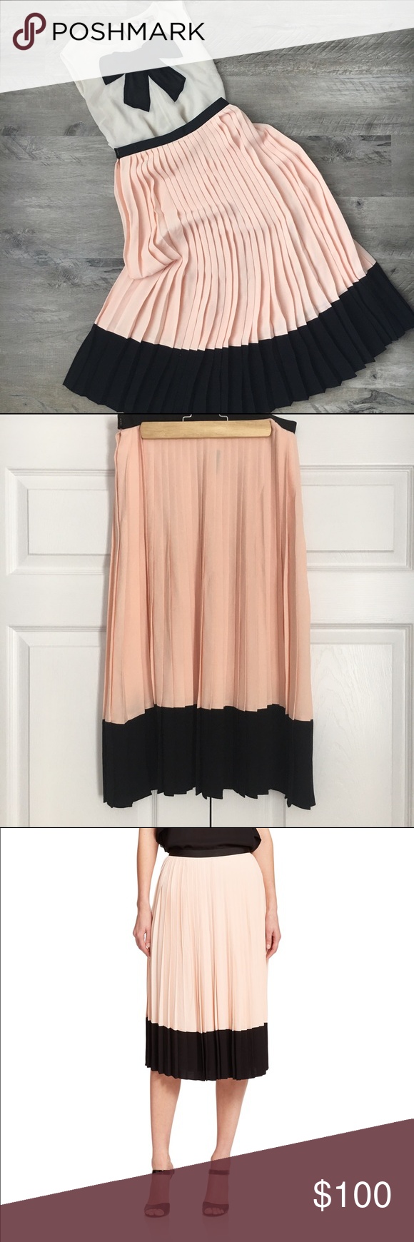 1770de7d3 Kate Spade Pleated Crepe Skirt Beautiful color blocked knife pleat skirt in  a soft muted pink and black. New with tags. Viscose. kate spade Skirts Midi