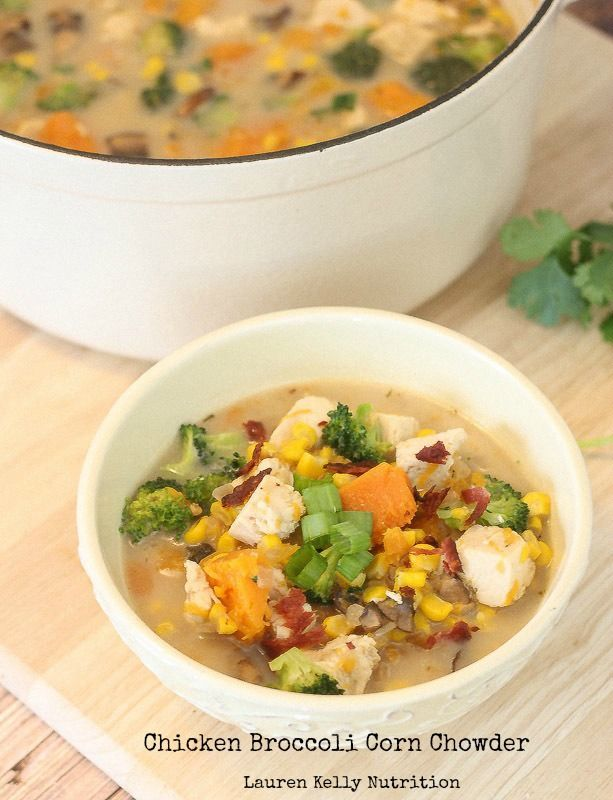 This Chicken Broccoli Corn Chowder is hearty enough for comfort food but healthy enough for a second serving!