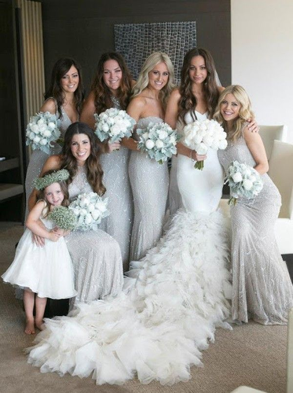 Mermaid Crew Sweep Train Grey Sequined Sleeveless Bridesmaid Dress